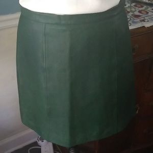 DKNY, emerald leather skirt